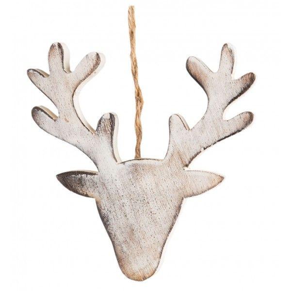 adorno navidad cabeza ciervo madera