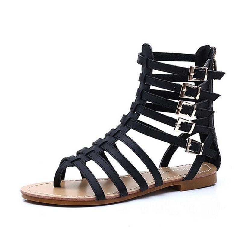 6836fc1d5 England Style Women Shoes Roman Sandals Buckle Summer Flip Flops Gladiator  Flat With Sandals Plus Size 35-43 XWZ2029