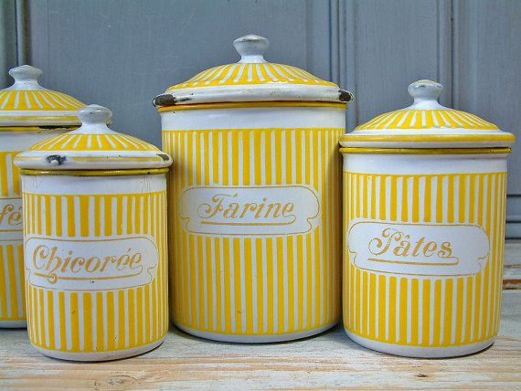 Vintage French Enamel Kitchen Canister Set In Yellow By Chanteduc, $210.00