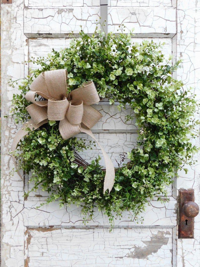 Photo of Eucalyptus Wreath – Front Door Wreath – Farmhouse Wreath – Greenery Wreath – Wreath with burlap bow – Burlap and Greenery Wreath – Wedding