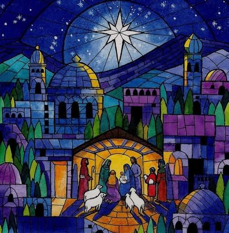 Love this stained glass picture of Bethlehem and the nativity scene. Inspiration for my advent calendar