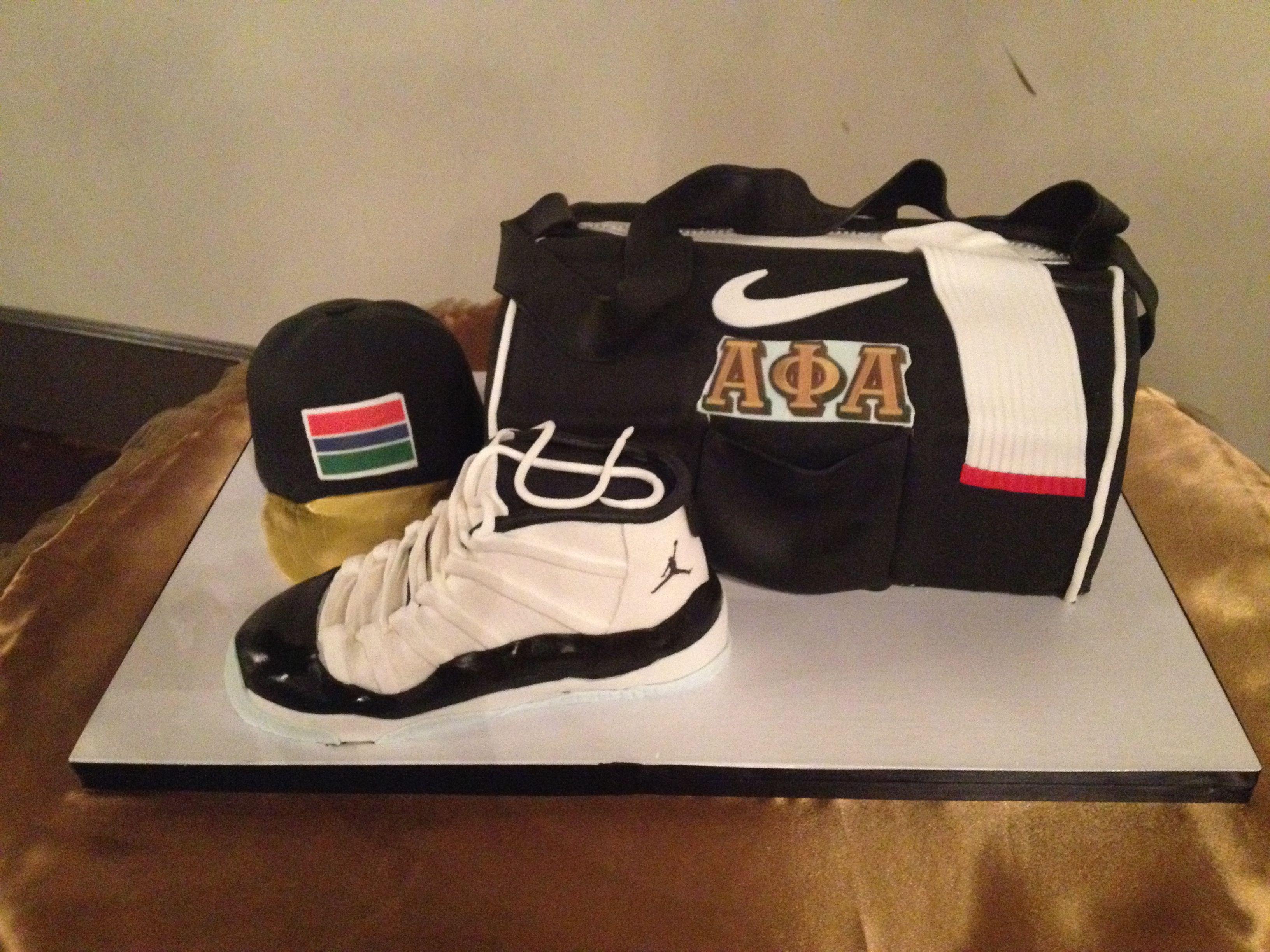 Gym bag, Jordan shoe and hat groom's cake