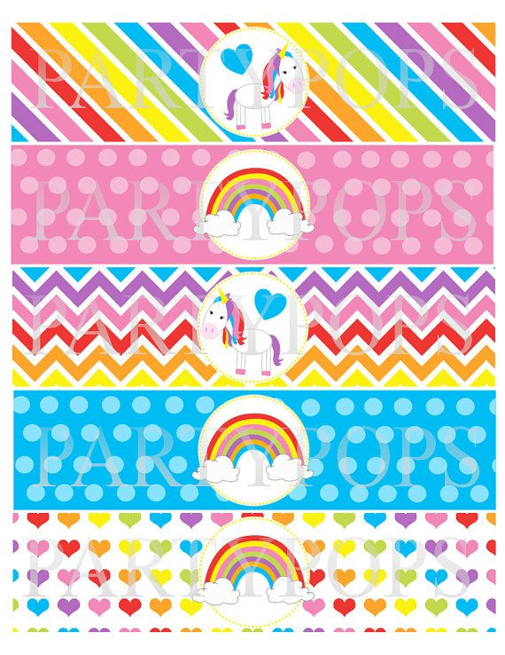 Diy Rainbow Party Printable Water Bottle Milk Bottle By Partypops