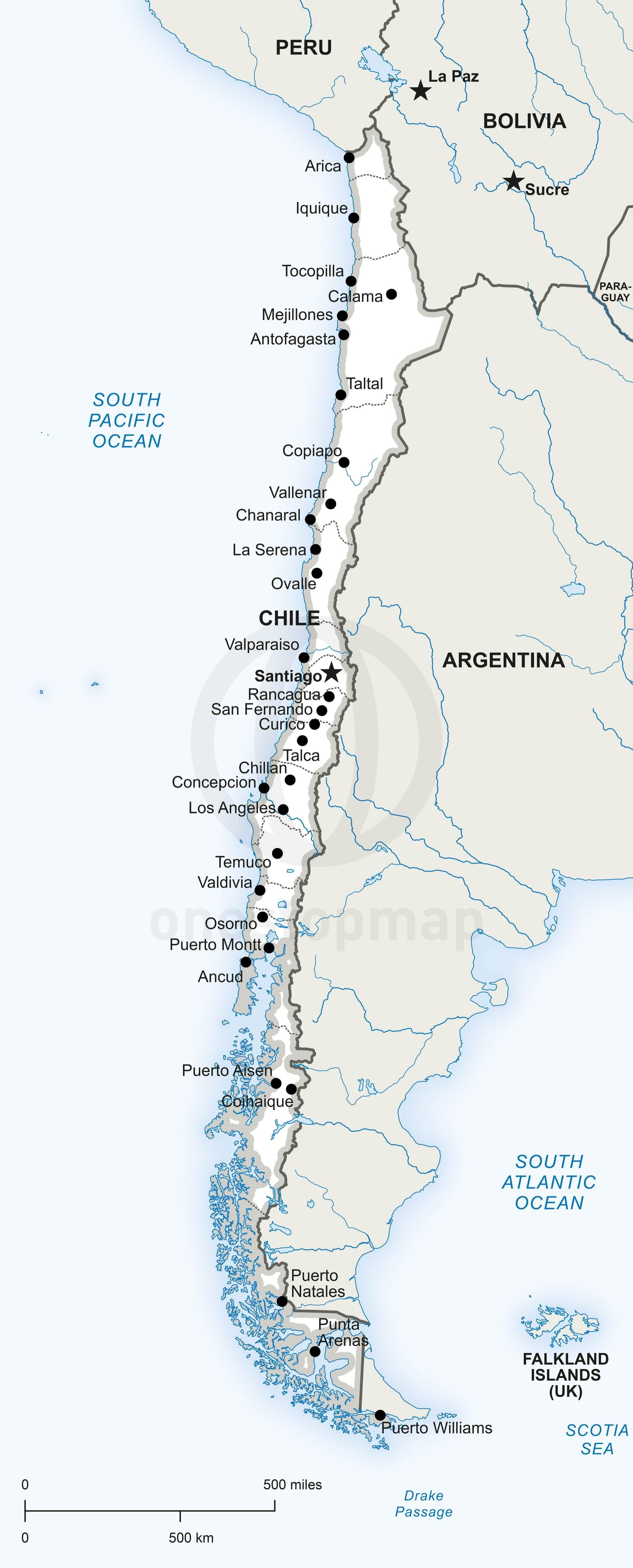 Vector Map Of Chile Political Rivers City And South America - Argentina map rivers