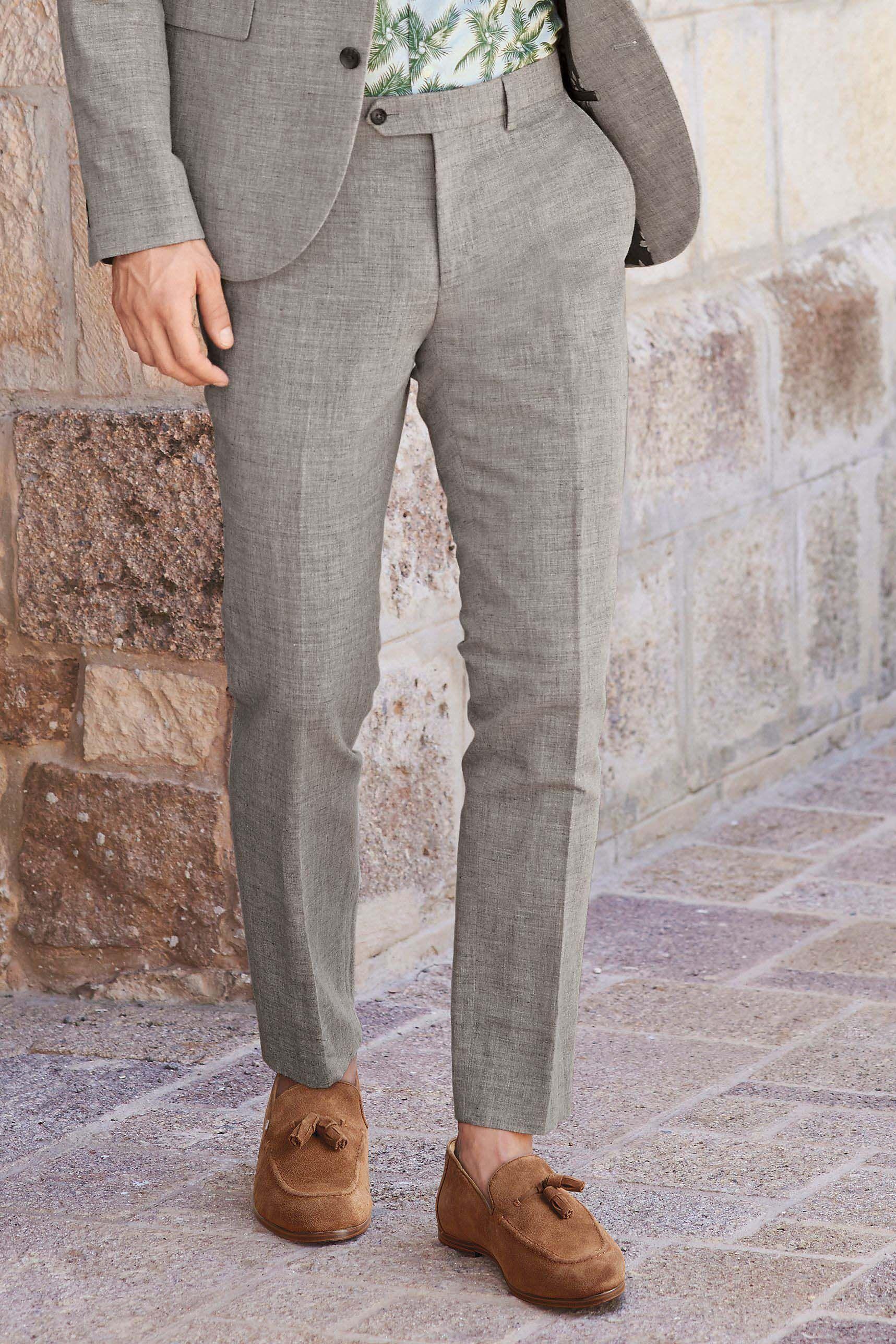 db522d33515a Mens Next Light Grey Skinny Fit Melange Linen Blend Suit: Trousers - Grey