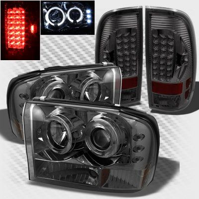 Ford F250 Super Duty 1999 2004 Smoked Halo Projector Headlights And Led Tail Lights F250 Super Duty F250 Truck Accessories Ford