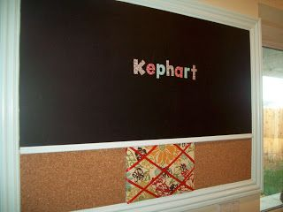 DIY magnetic chalkboard and corkboard message center   I need one of these.   Love how they customized the whole thing!