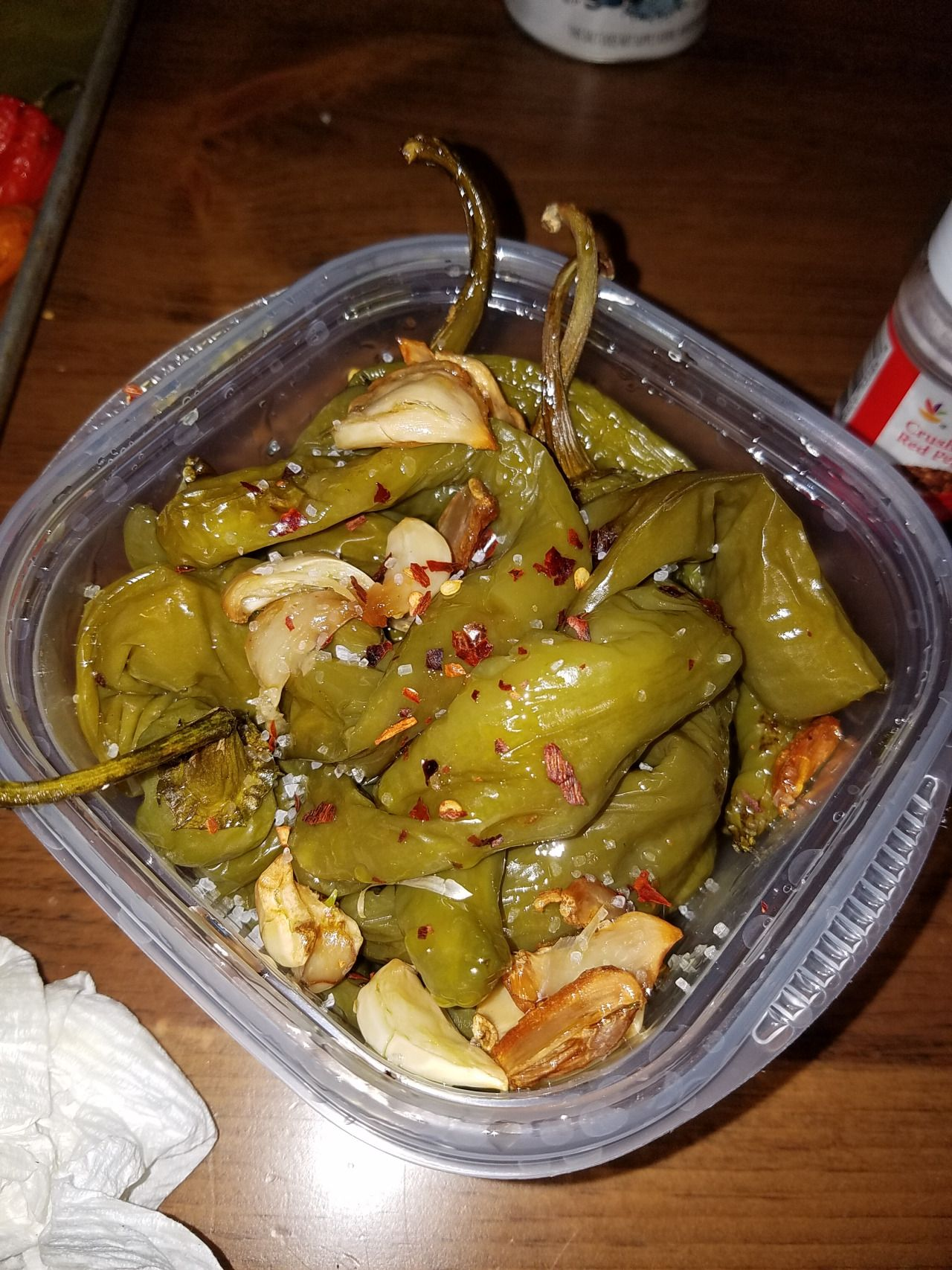 Roasted Peppers Italian Long Hots 1 Pound Garlic 6 7 Cloves Olive Oil 1 Cup Red Chili Flakes Das Stuffed Peppers Stuffed Hot Peppers Roasted Peppers