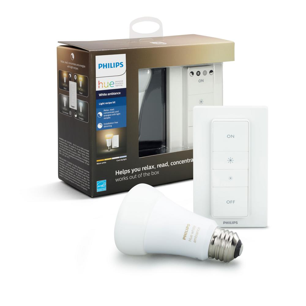 Philips Hue White Ambiance Wireless Lighting Recipe Kit A19 Led 60w Equivalent Dimmable Smart Light Bulb And Remote Dimmer Switch 466706 With Images Hue Philips Smart Light Bulbs Smart Lighting