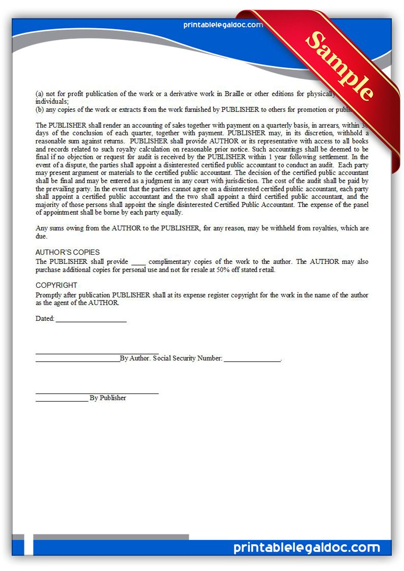 Free Printable Book Publication Agreement Form Generic Book