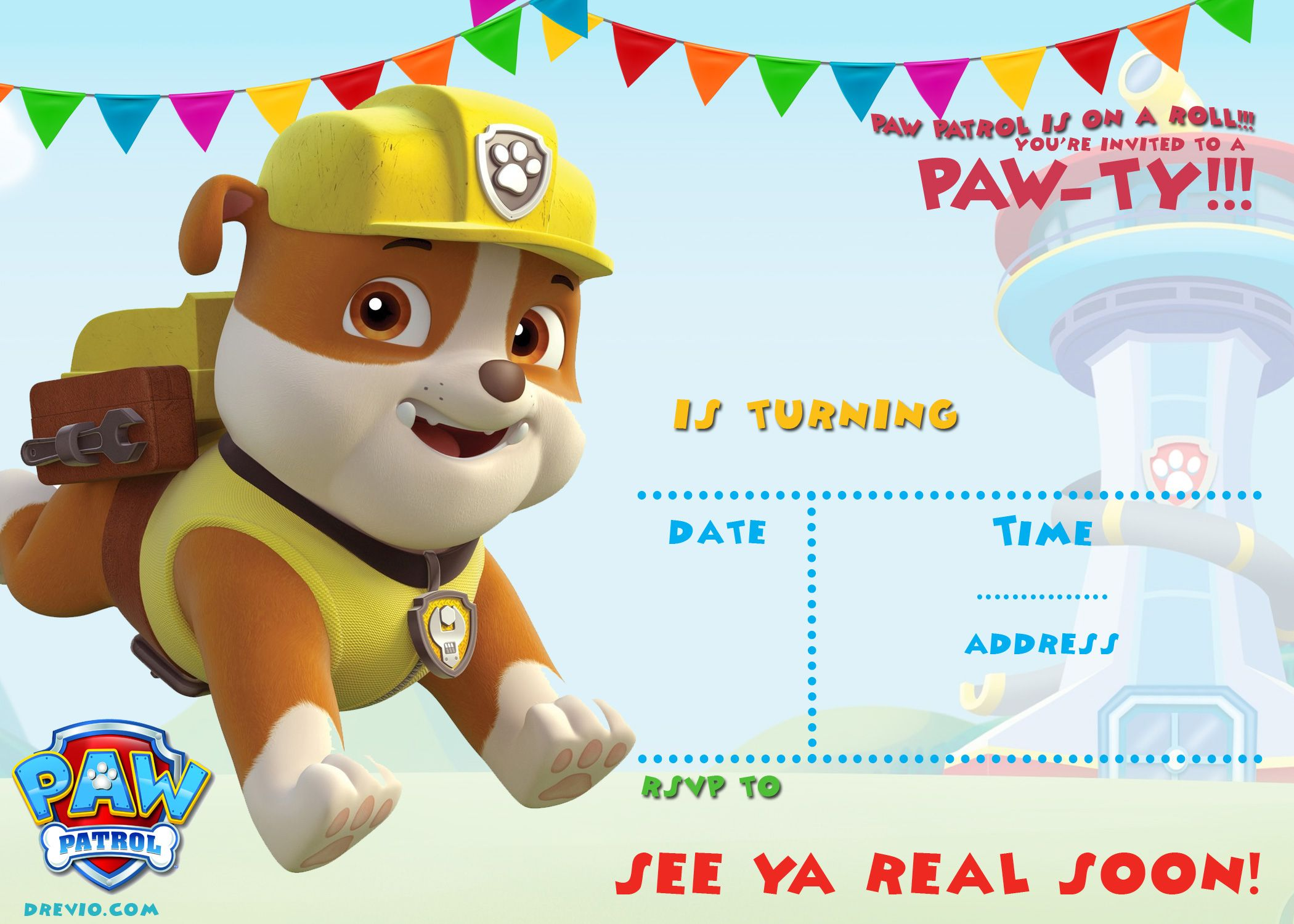 Free Printable Paw Patrol Invitation Template All Characters Drevio Paw Patrol Invitations Paw Patrol Invitations Printables Paw Patrol Birthday Invitations