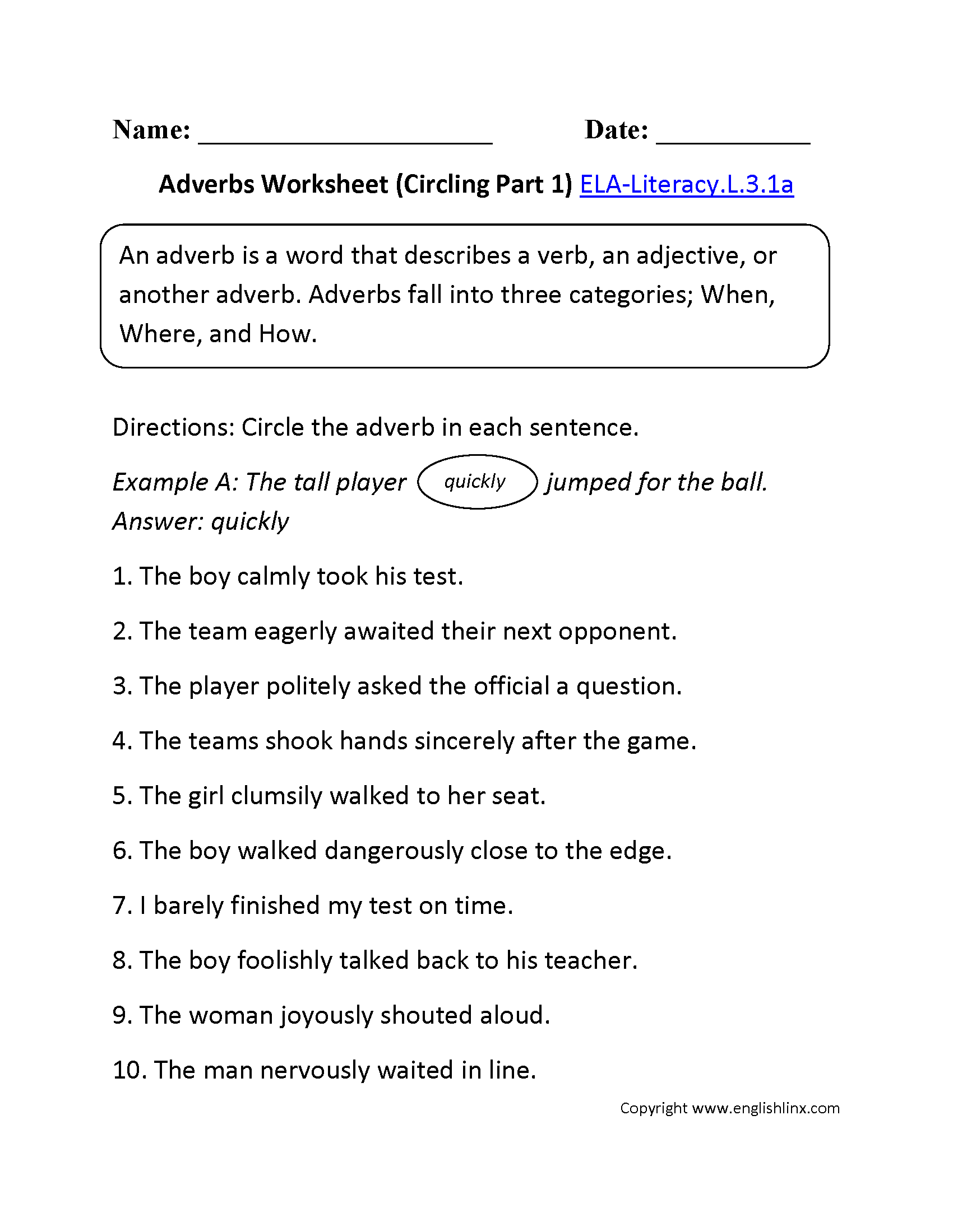Adverbs Worksheet 1 Ela Literacy L 3 1a Language Worksheet