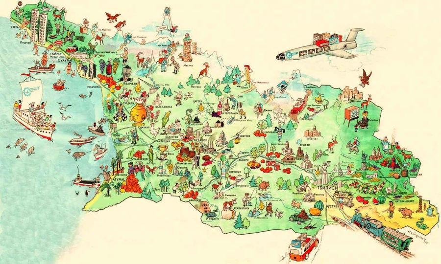 Country Of Georgia Map Touristic map of Georgia country | Georgia map, Tourist map, Map