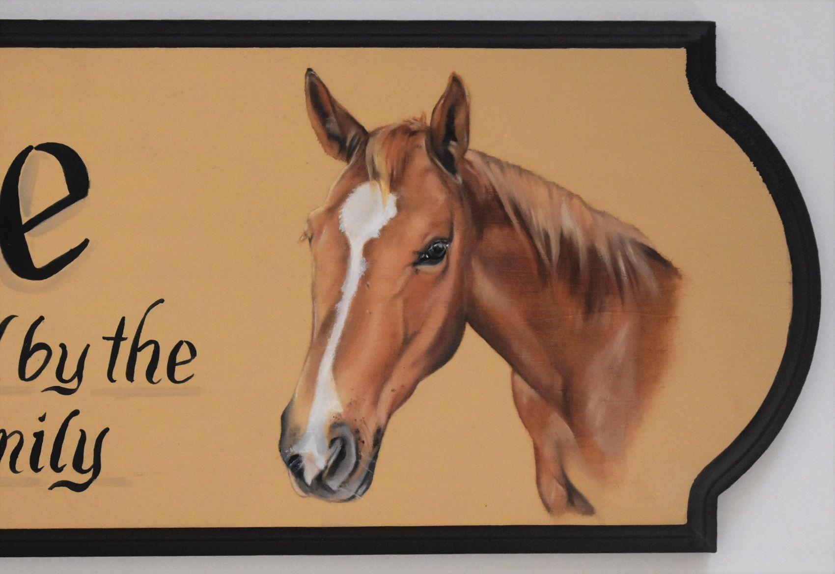 Pferde Portraitmalerei Boxenschild Horses Animals