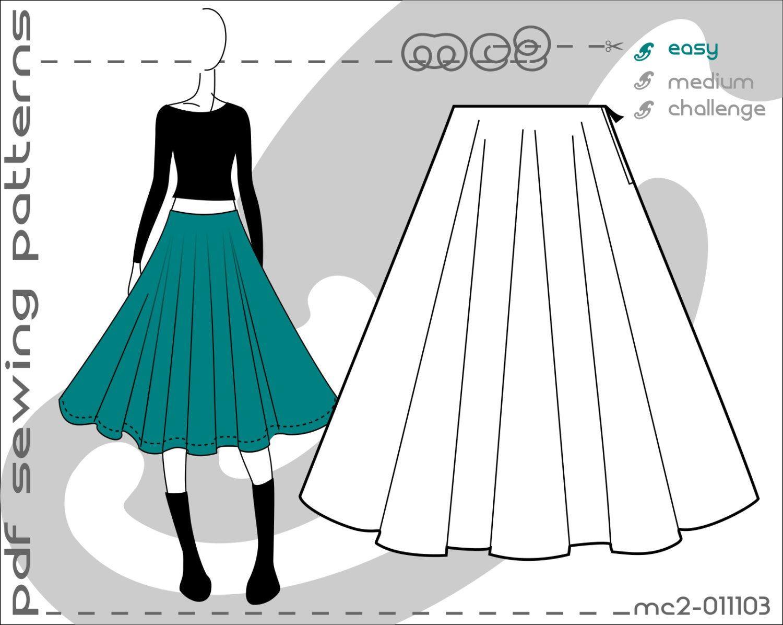 UK 616/ US 212/ Basic Pattern Circle Skirt/ Sewing