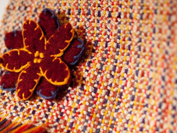 Autumn Flowers handwoven scarf by LoomyBin on Etsy
