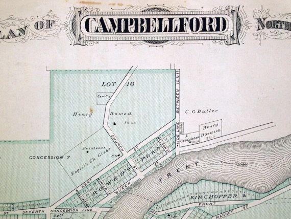 1878 Large Rare Vintage Map Of Campbellford Trent Hills Vintage