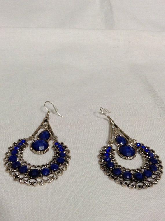 Blue Swarovski Crystal Dangle earrings by CaseyRoseCollection, $12.00
