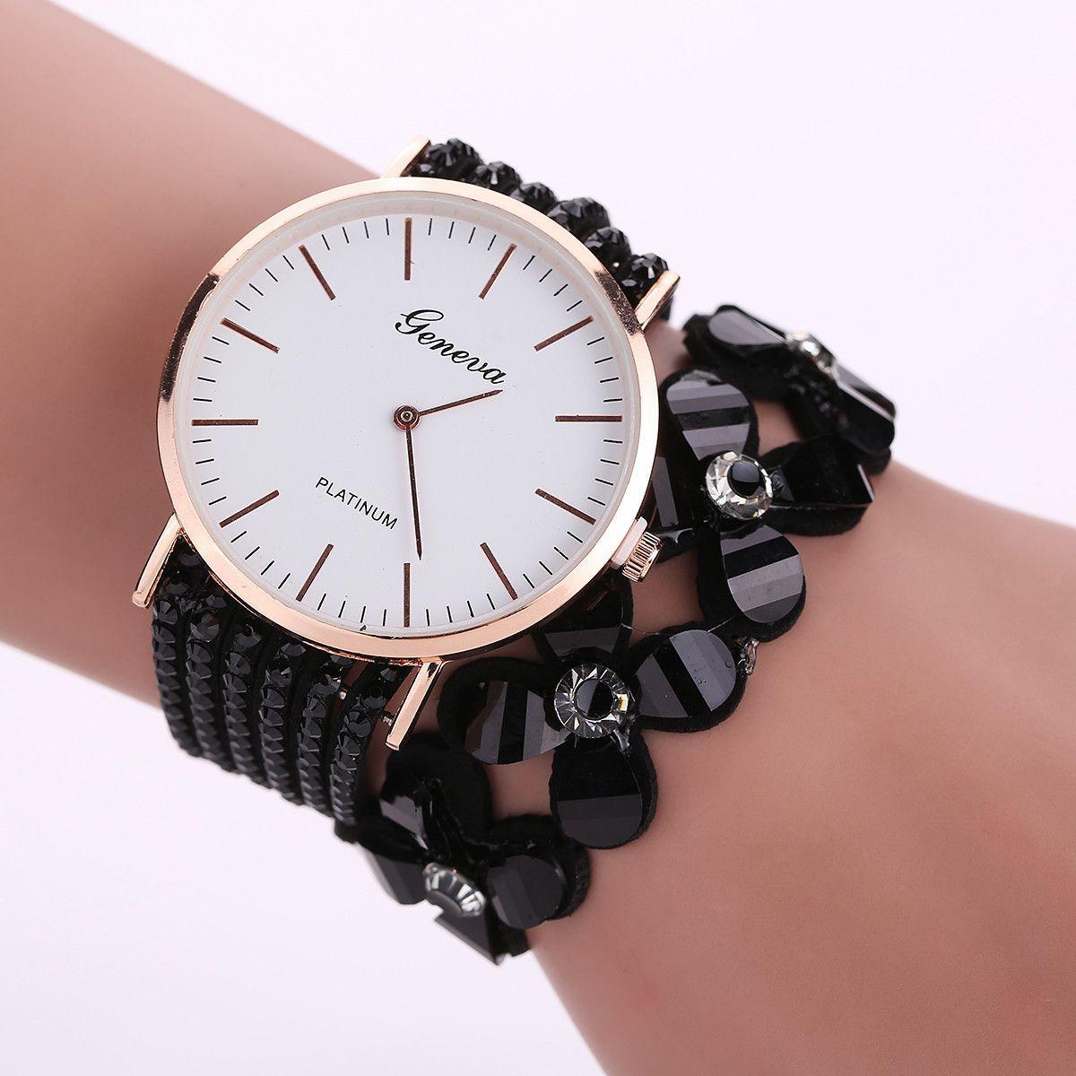 Milky fashion leisure womens quartz bracelet watch crystal diamond