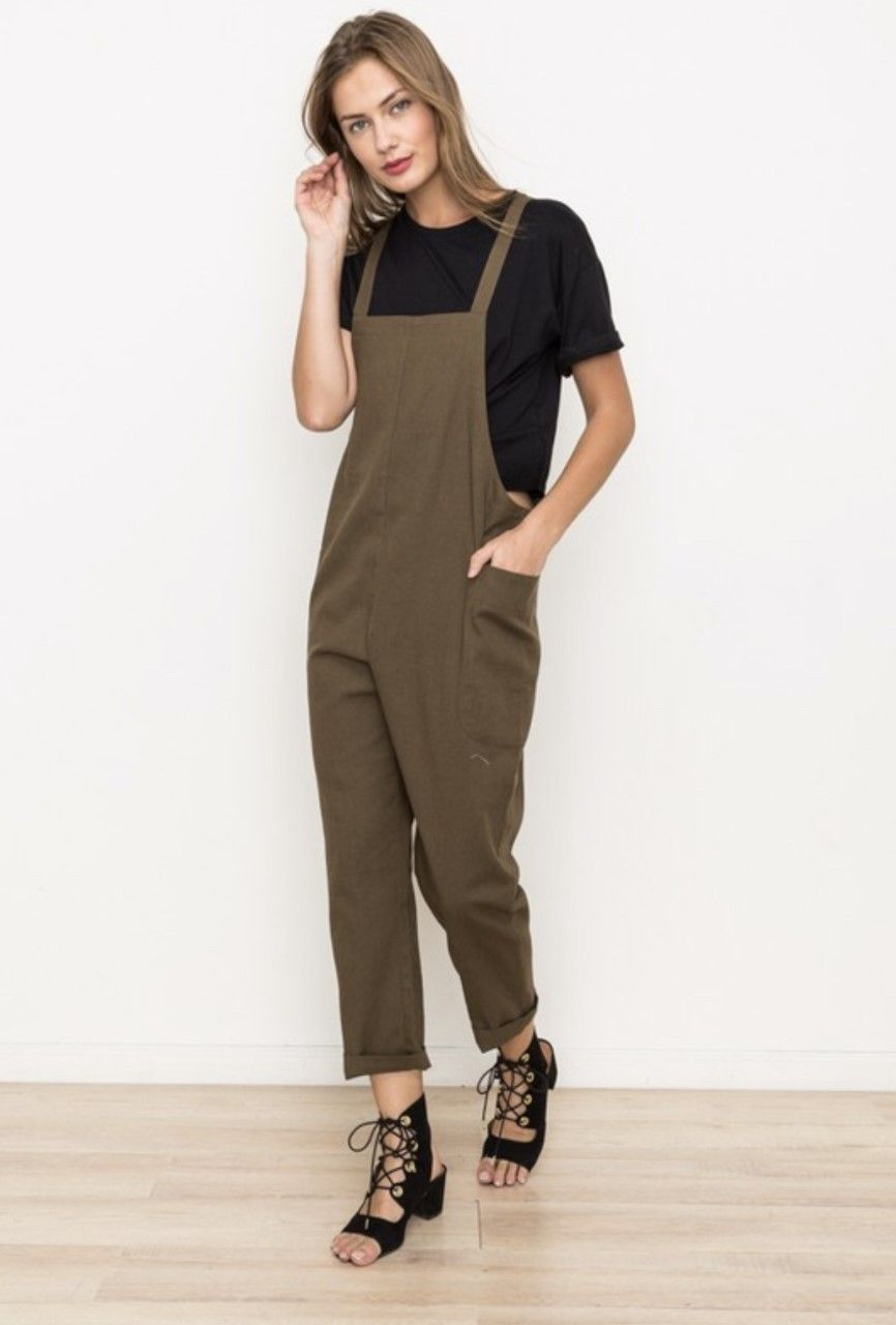 7deb1c5237ad Relaxed-fit linen-blend jumpsuit with cross-back detailing in deep olive  green. Hem   Thread