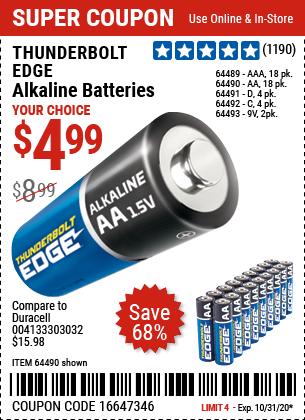 Thunderbolt Edge Alkaline Batteries For 4 99 Alkaline Battery Harbor Freight Tools Harbor Freight Coupon