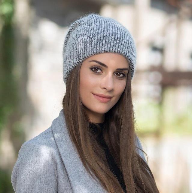 BINGYUANHAOXUAN Winter Women Knit Angola Rabbit Fur Hat Cap Women Winter  Warm Beanie Hat Outdoors Sport d0a7e7c1804