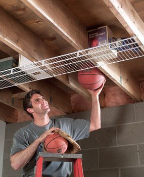 Garage storage... great idea!!  Could do this in my shed ceiling.