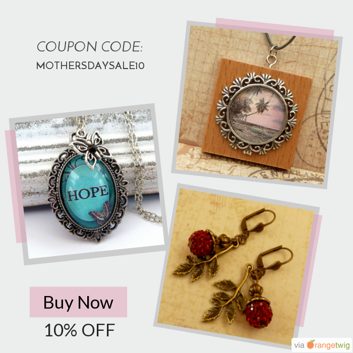 We are happy to announce 10% OFF on our Entire Store. Coupon Code: MOTHERSDAYSALE10.  Min Purchase: N/A.  Expiry: 29-May-2016.  Click here to avail coupon: https://orangetwig.com/shops/AABZS48/campaigns/AACrhCO?cb=2016006&sn=Schmucktruhe&ch=pin&crid=AACriaC&utm_source=Pinterest&utm_medium=Orangetwig_Marketing&utm_campaign=Coupon_Code   #etsy #etsyseller #etsyshop