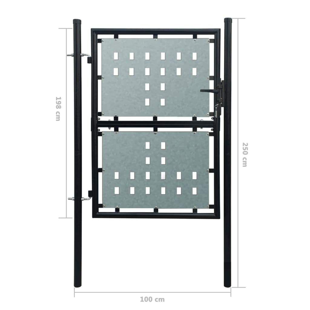Black Single Door Fence Gate 100 x 250 cm