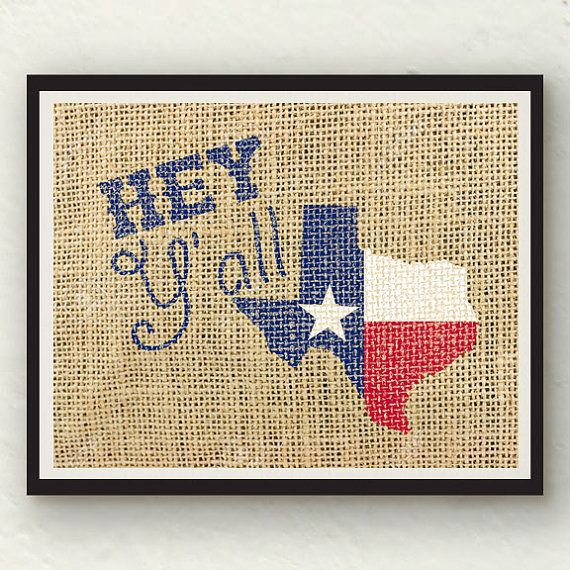 Hey Y\'all Texas red white blue burlap wall art photo print | Burlap ...
