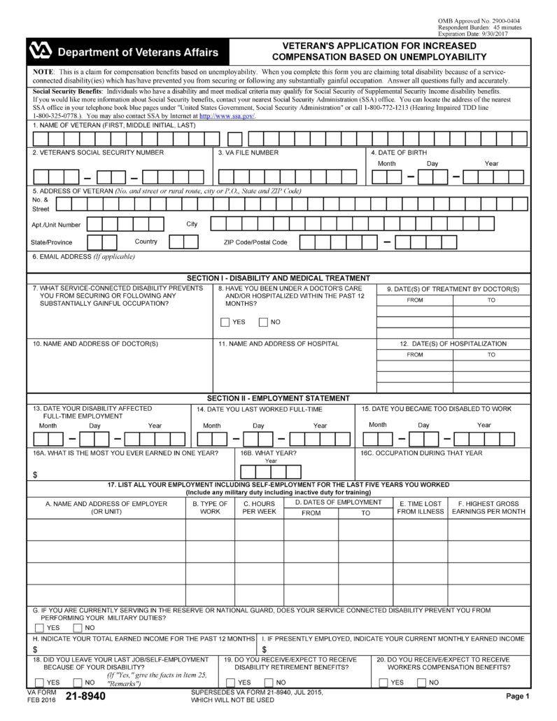 DE 2525XX Form Printable Disability insurance, Veterans