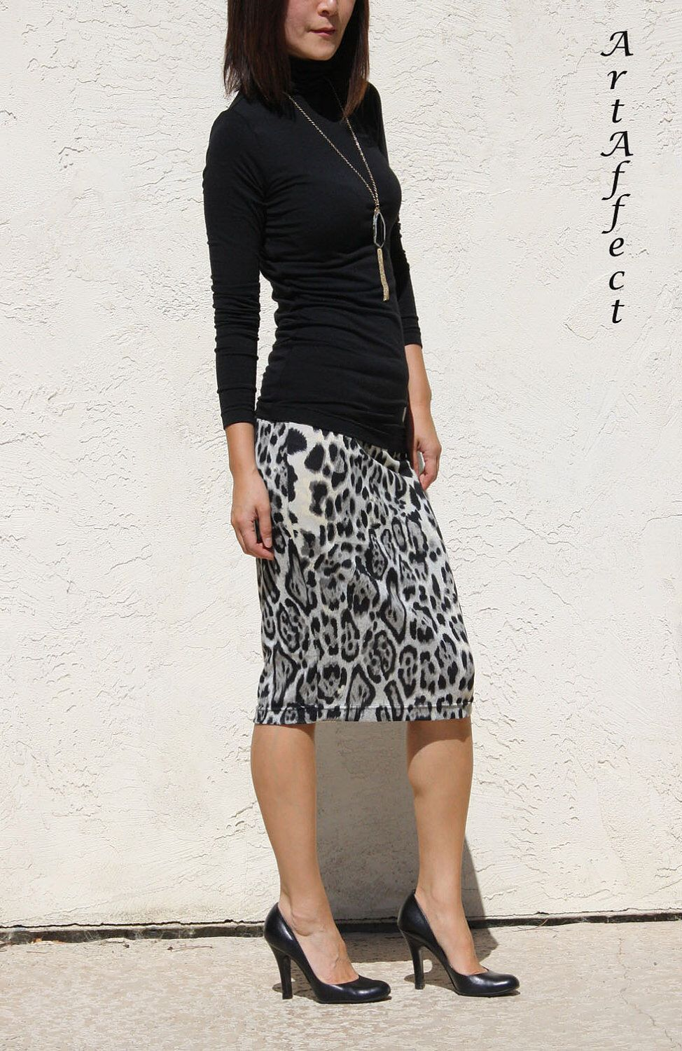 c4d77f68cd Sweater Knit Everyday Pencil Skirt - Black and Gray Leopard Print by  artaffect on Etsy https