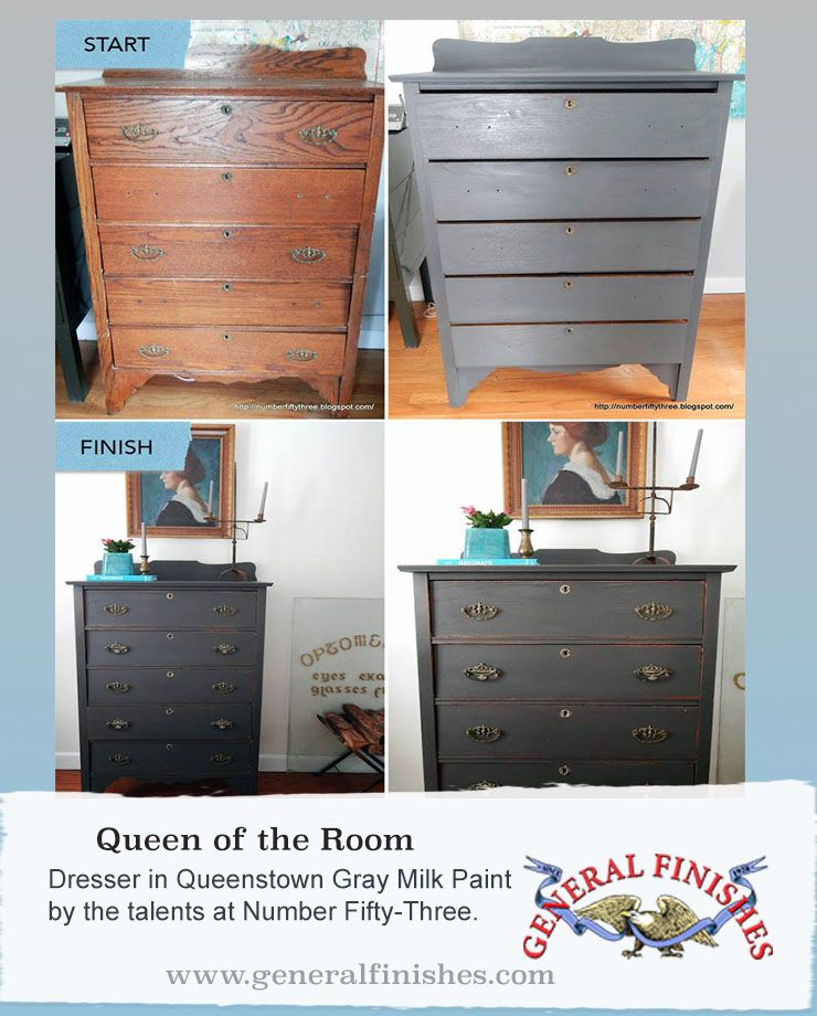 Check out this makeover journey. Number Fifty Three used General Finishes Queenstown Gray Milk Paint and gave this dresser a total transformation. #generalfinishes #milkpaint #beforeandafter