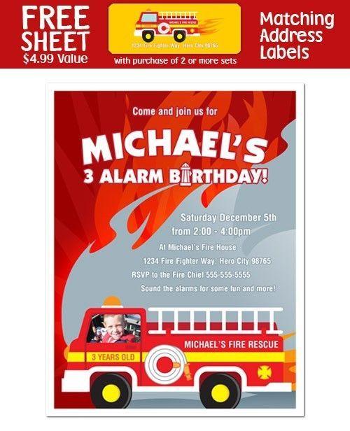 8 Fireman Firefighter Fire Truck PHOTO Invitations #BirthdayBabyShowerAny