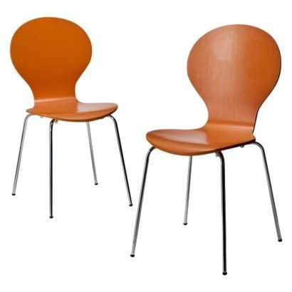 Modern Stacking Chair - Set of 2 (Orange) - Bent Plywood Chairs