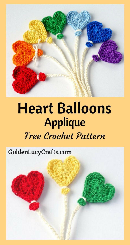 Crochet Balloon Applique Heart Balloon Free Crochet Pattern