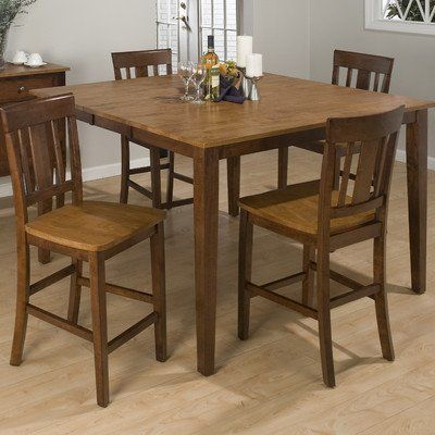 5 Piece Counter Height Dining Set In Kura Espresso And Canyon Gold
