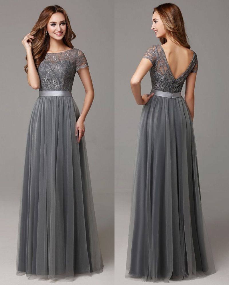 Grey long modest bridesmaid dresses with cap sleeves lace for Long wedding dresses with sleeves
