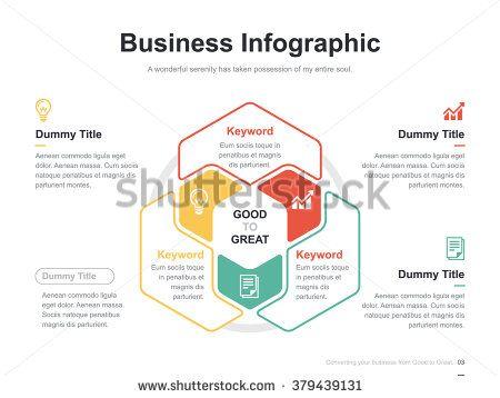 Flat Business Presentation Vector Slide Template With Hexagon Venn