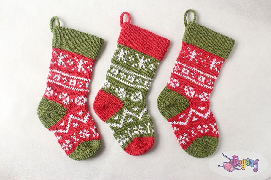 Stranded Christmas Stocking FREE #knitting #pattern http ...