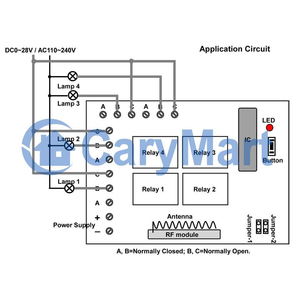 wiring diagram 4 channel, 100m, Channel
