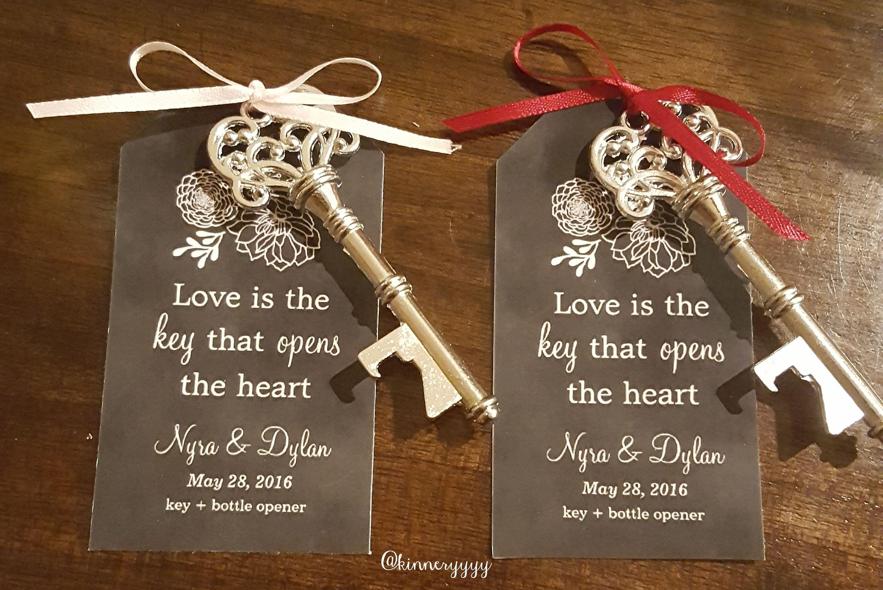 Wedding Favors, Key Bottle Opener, Chalkboard Tag, Love Is