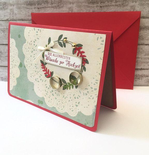 Hochzeitskarten Hochzeitskarte 12 5 X 18 Cm Mit Ringen Ein