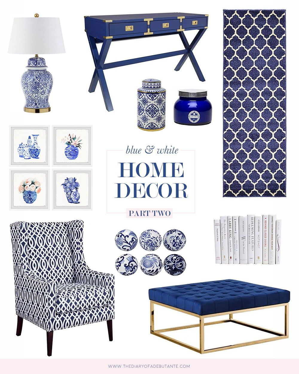 Budget Friendly Blue And White Home Accessories Decor Finds Living Room