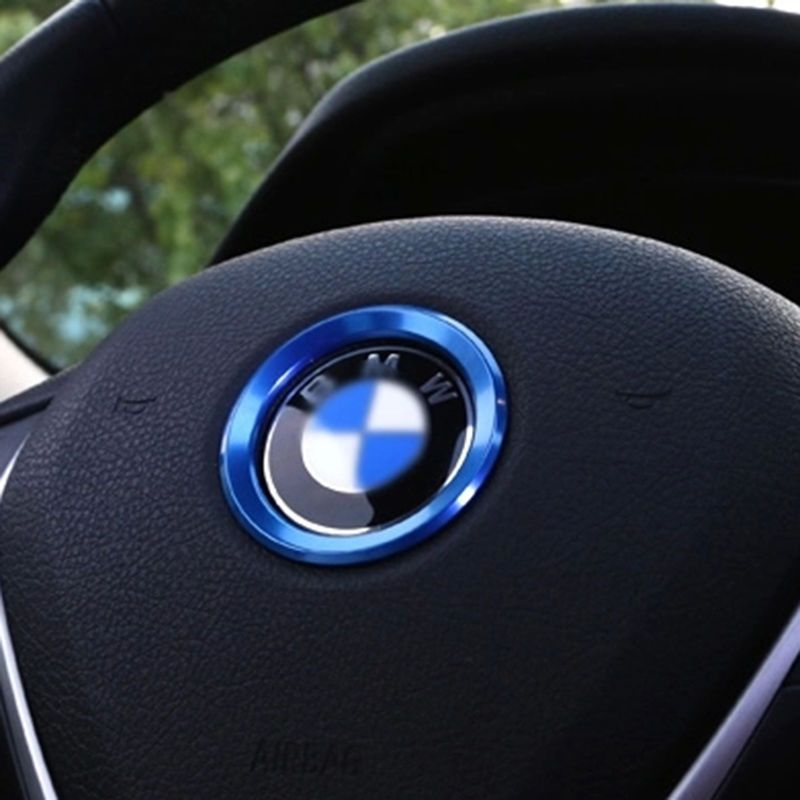 1x Blue Car Steering Wheel Center Decoration Ring Cover For BMW 1 3 4 5 7 Series