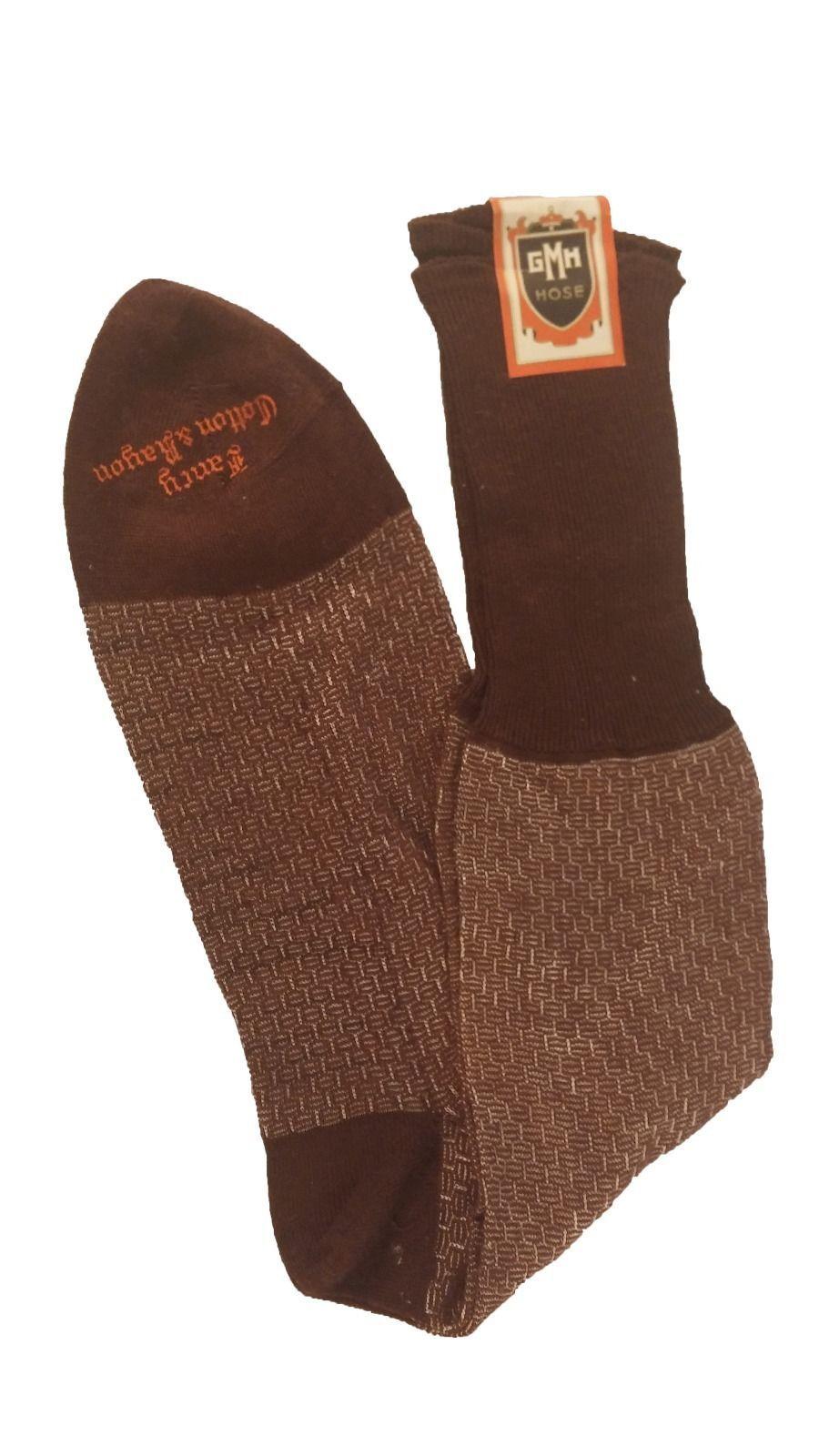 Vintage Mens Dress Socks Shimmery Brown White Detail GMH Hose Fancy Cotton Rayon | eBay