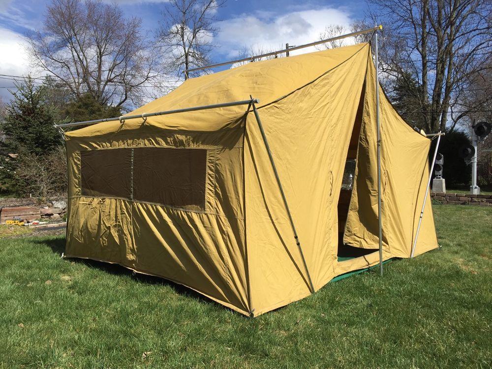 Vintage Eureka Canvas Cabin Tent w/Aluminum Poles 10u0027 6  X 8u0027 & Vintage Eureka Canvas Cabin Tent w/Aluminum Poles 10u0027 6