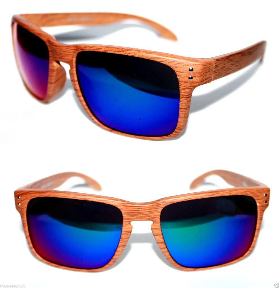 Men's Sport Sunglasses Flat Top Wood Look Brown Blue Green