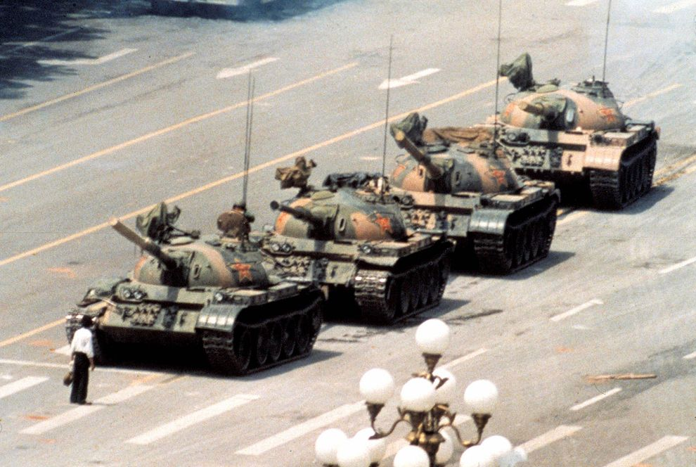 The iconic photo of Tank Man  , the unknown rebel who stood in front of a column of Chinese tanks in an act of defiance following the Tiananmen Square protests of 1989.