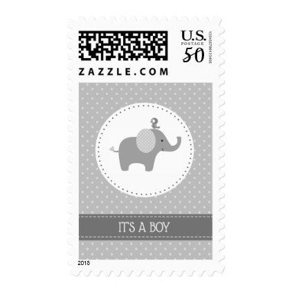 Gray Elephant Baby Shower Postage Stamps - baby gifts child new born gift idea diy cyo special unique design
